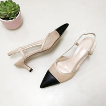 Load image into Gallery viewer, Women Genuine Leather Shoes Slingbacks High Heels Pointed Toe Cutout Sandals - EUFASHIONBAGS