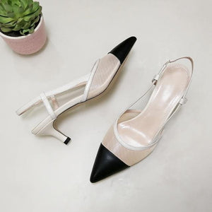 Women Genuine Leather Shoes Slingbacks High Heels Pointed Toe Cutout Sandals - EUFASHIONBAGS