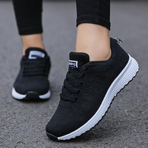 Fashion Women Casual Sneakers Shoes Breathable Walking Mesh Flat Shoes - EUFASHIONBAGS