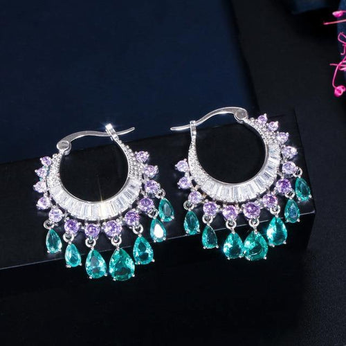 Purple Blue CZ Crystal Dangle Water Drop Tassel Hoop Earrings Women Bridal Wedding Jewelry - EUFASHIONBAGS