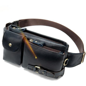 Genuine Leather Men Waist Packs Waist Bags Travel Fanny Pack Belt Bag Phone Bags - EUFASHIONBAGS