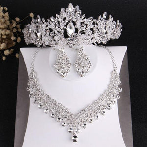 Baroque Crystal Beads Bridal Jewelry Sets Rhinestone Tiaras Crown Necklace Earrings Wedding African Beads Jewelry Set - EUFASHIONBAGS