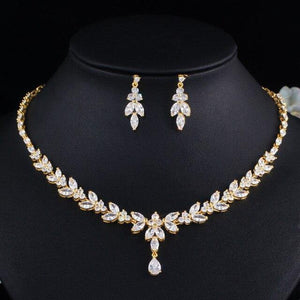 Dubai Gold Color Cubic Zirconia Leaf Drop Wedding Necklace Bridal Women Jewelry Set - EUFASHIONBAGS