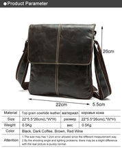 Load image into Gallery viewer, Men's Messenger Bag Men Genuine Leather Causal Crossbody Bags  Shoulder Bags Leather Flap Male w8006 - EUFASHIONBAGS
