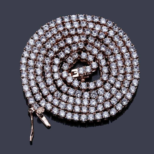 Fashion 5MM Bling Zircon Tennis Chain Men Necklace Hip hop Jewelry - www.eufashionbags.com