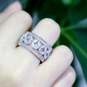 Wide Hollow Round Cubic Zirconia Women Wedding Rings Party Jewelry Accessories - EUFASHIONBAGS