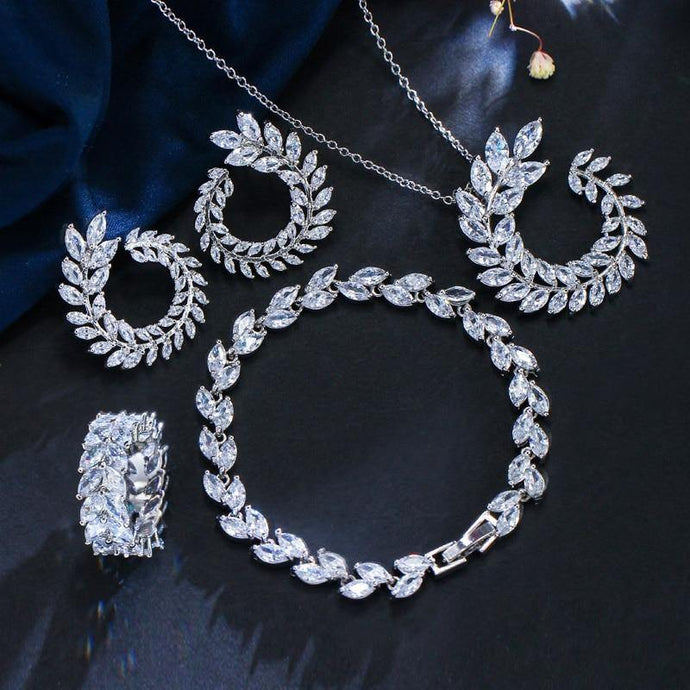 4 Pcs/set Leaf CZ Necklace Earrings Bracelet and Ring jewelry Sets Womens Accessories j32 - EUFASHIONBAGS
