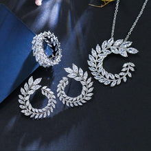 Load image into Gallery viewer, 4 Pcs/set Leaf CZ Necklace Earrings Bracelet and Ring jewelry Sets Womens Accessories j32 - EUFASHIONBAGS