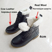 Load image into Gallery viewer, Women Real Leather Motorcycle Short Boots  Natural Wool Fur Platform Ankle Shoes - EUFASHIONBAGS