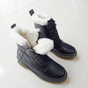 Women Real Leather Motorcycle Short Boots  Natural Wool Fur Platform Ankle Shoes - EUFASHIONBAGS