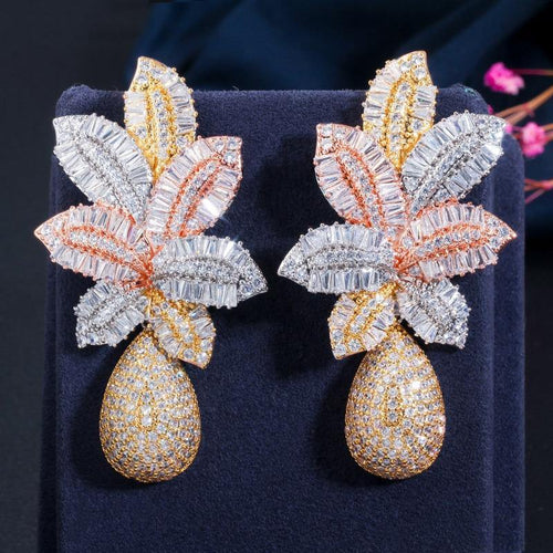 Luxury Large Flower Cubic Zirconia Drop Earrings For Women Wedding Party - EUFASHIONBAGS