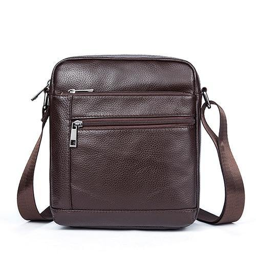 Genuine Leathe Men's Shoulder Bags Small Men's Flap Messenger Bag Black Crossbody Bags W03 - EUFASHIONBAGS