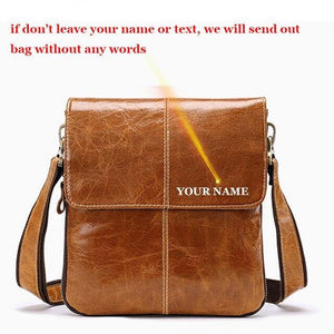 Men's Messenger Bag Men Genuine Leather Causal Crossbody Bags  Shoulder Bags Leather Flap Male w8006 - EUFASHIONBAGS