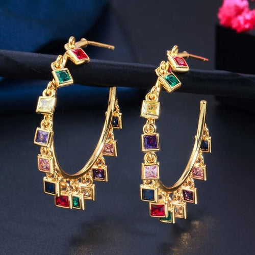 Women Gold Rainbow CZ Circle Round Dangle Tassel Hoop Earrings - EUFASHIONBAGS