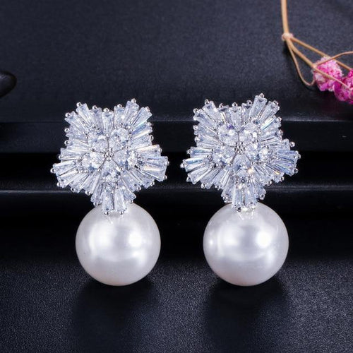 New Flower Cubic Zirconia White Pearl Women Drop Earrings Jewelry Gift - EUFASHIONBAGS