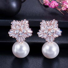 Load image into Gallery viewer, New Flower Cubic Zirconia White Pearl Women Drop Earrings Jewelry Gift - www.eufashionbags.com