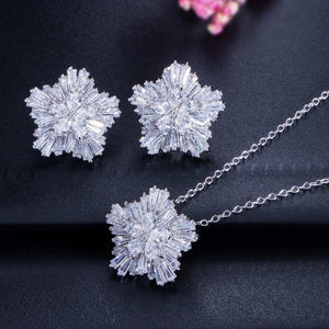 Fashion Women Jewelry Sets Cubic Zirconia Flower Pendant Necklace Earrings Gift j30 - EUFASHIONBAGS