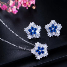 Load image into Gallery viewer, Fashion Women Jewelry Sets Cubic Zirconia Flower Pendant Necklace Earrings Gift j30 - EUFASHIONBAGS