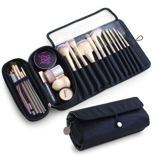 Makeup Bag Women's Cosmetic Brush Bag Travel Organizer Brushes Fold Tools Rolling Bags Waterproof Nylon Makeup Case - EUFASHIONBAGS