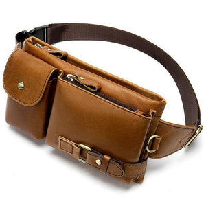 Genuine Leather Men's Waist Bags Fanny Pack Money Phone Pouch Bag Hip Men's Shoulder Bags - EUFASHIONBAGS
