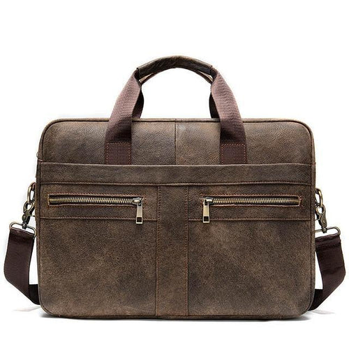 Men's Briefcases for Laptop Bag 14'' Genuine Leather Messenger Bags for Men Computer Bag for Documents A4 Portfolio - EUFASHIONBAGS