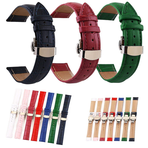 Genuine Leather Watchband Pattern Strap 12mm -24mm Women Men Watch Band - EUFASHIONBAGS