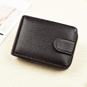 Men Card Wallet Genuine Leather Clutch Wallets Purses Driver's License Cover Zipper Organ Women's Wallet - EUFASHIONBAGS
