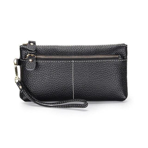Genuine Leather Long Clutch Wallet Temperament Zipper Purse With Hand Rope - EUFASHIONBAGS