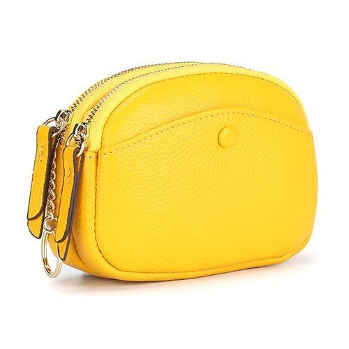 Cow Leather Coin Purse Women Key Wallet Double Compartment Mini Key Chain Wallet - EUFASHIONBAGS