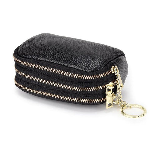 Three Zipper Linings Coin Purse Cowhide Leather Mini Purse Multi-function Purse - EUFASHIONBAGS