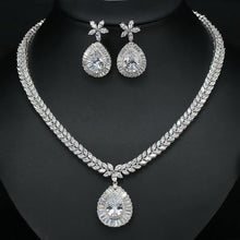 Load image into Gallery viewer, Women Cubic Zirconia Paved Water Drop Earrings Bridal Wedding Necklace Jewelry Set c15 - EUFASHIONBAGS