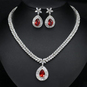 Women Cubic Zirconia Paved Water Drop Earrings Bridal Wedding Necklace Jewelry Set c15 - EUFASHIONBAGS