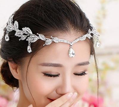 Vintage Crystal Bridal Hair Accessory Wedding Rhinestone Waterdrop Leaf Tiara Crown Headband Frontlet Bridesmaid Hair Jewelry - EUFASHIONBAGS