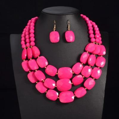 African Beads Jewelry Sets Multi layer Beads Indian Jewelry Sets Luxury Statement Choker Necklace Fashion Jewellery - EUFASHIONBAGS