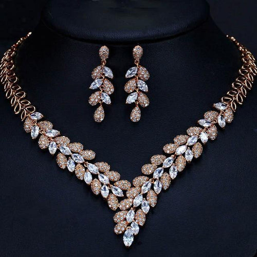 Fashion Women Blue CZ Crystal Earrings Necklace Wedding Jewelry Set c12 - EUFASHIONBAGS