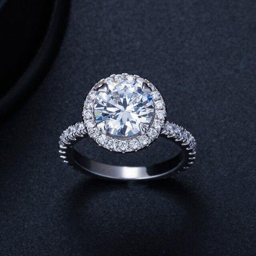 Women Round CZ Crystal Engagement Wedding Ring Jewelry Gift for girl - EUFASHIONBAGS