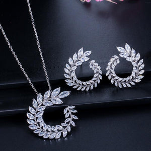 Women Costume Jewelry Sets Olive Branch Cubic Zirconia Pendant Necklace Earrings j18 - EUFASHIONBAGS