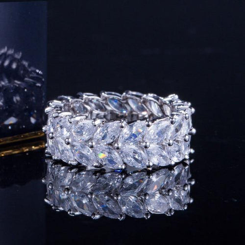 Fashion Olive Branch Big Cubic Zirconia Women Wedding Bands Ring Jewelry - EUFASHIONBAGS