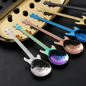 colorful multicolor stainless steel guitar spoon spoons blue gold silver purple black