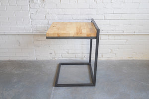 Cippus Side Table, Wood Top, Metal, Black-powder coated