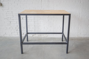 Rectangular High-top, Dining Table, Wood Top, Metal black-powder-coated