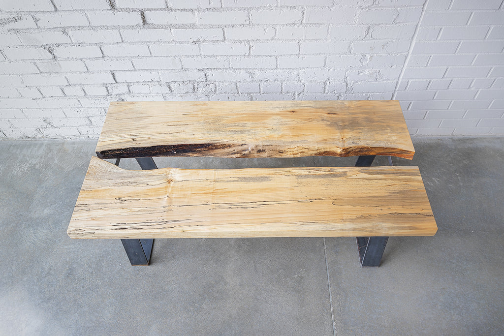 Coffee Table, Live Edge, Raw Steel