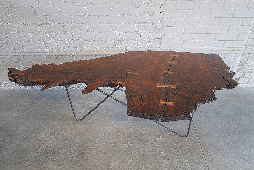 Coffee Table, Walnut Root Slab, Raw Steel hairpin legs