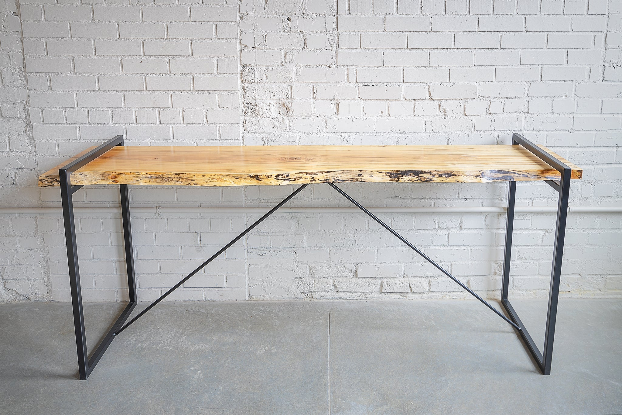 Console Table, Live Edge, Metal Powder-coated