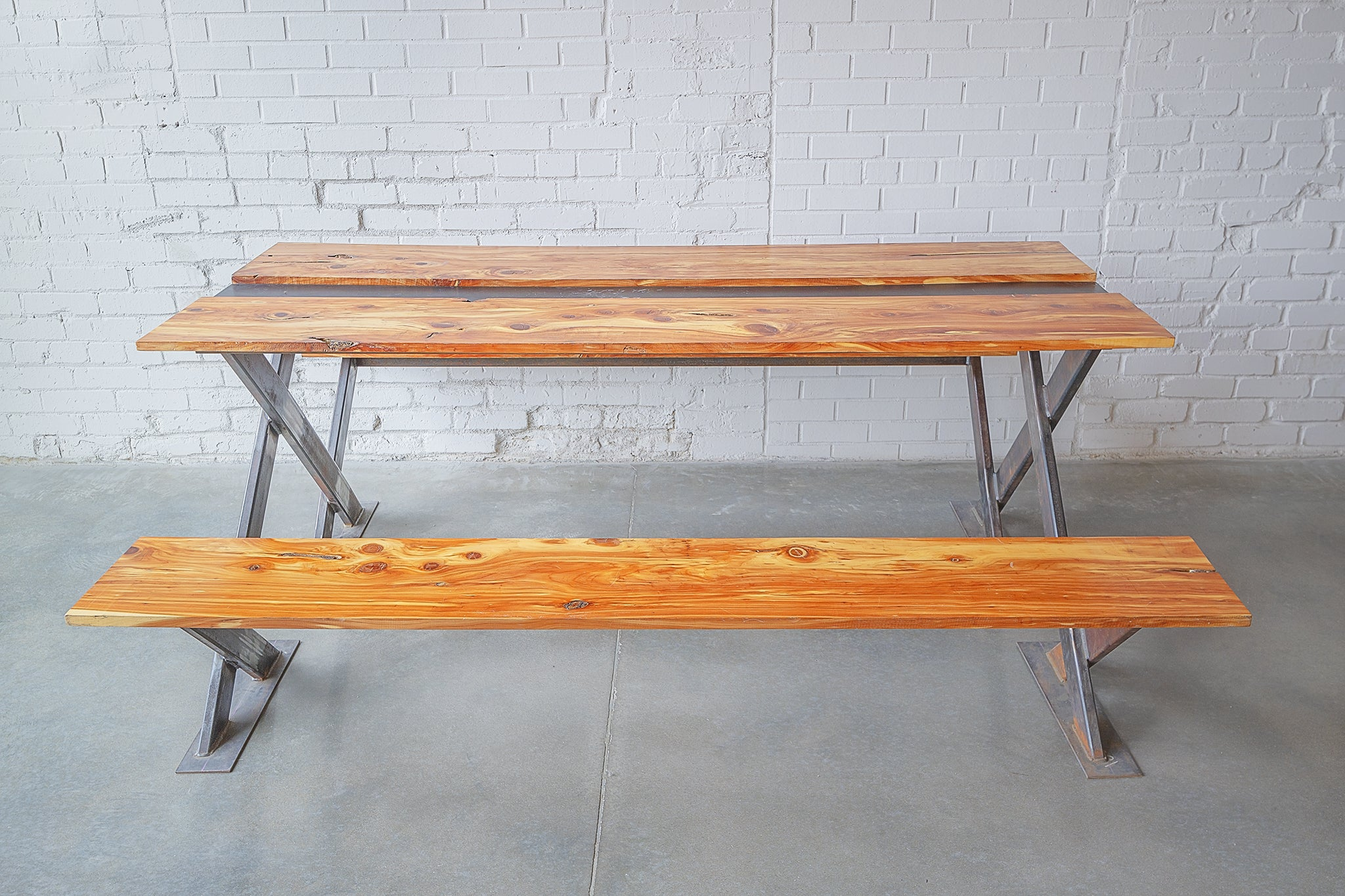 Picnic Table, Wood, Raw Steel, X-Frame