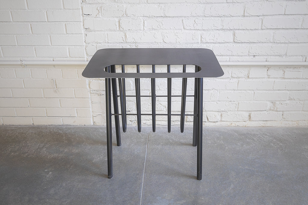 Black Powder-coated, Side Table, Magazine Rack