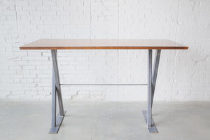 Dining Table, Raw Steel X-Frame