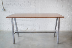 Rectangular High-top Dining Table, Raw Steel A-Frame Base