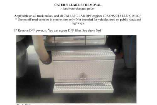 FOR CAAT C7S/C9S/C13 LEE/C15 SDP DPF DELETES User's Guide - Full Delete Guide !