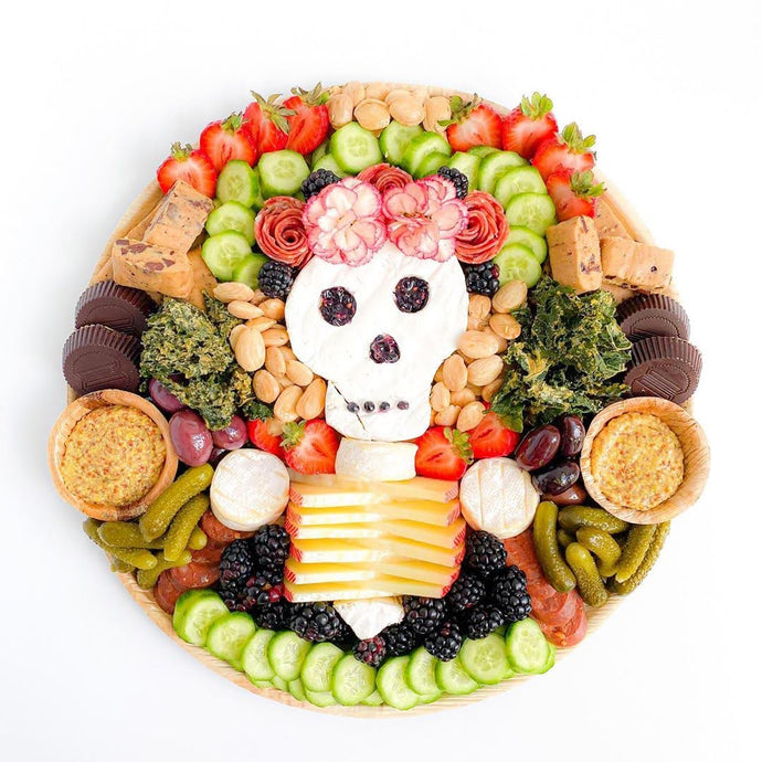 Halloween Charcuterie With Palm Leaf Platters